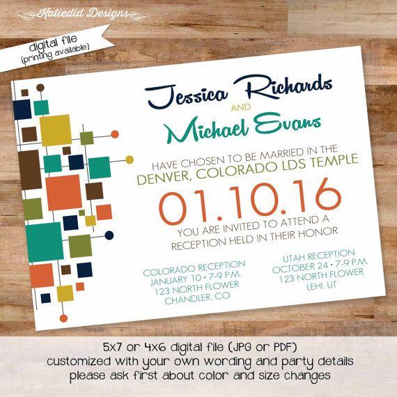 mid century modern wedding invitation reception announcement ...