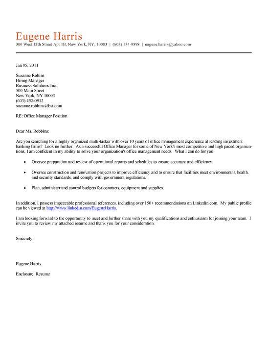 Office Manager Cover Letter Cover Letter For Resume Job