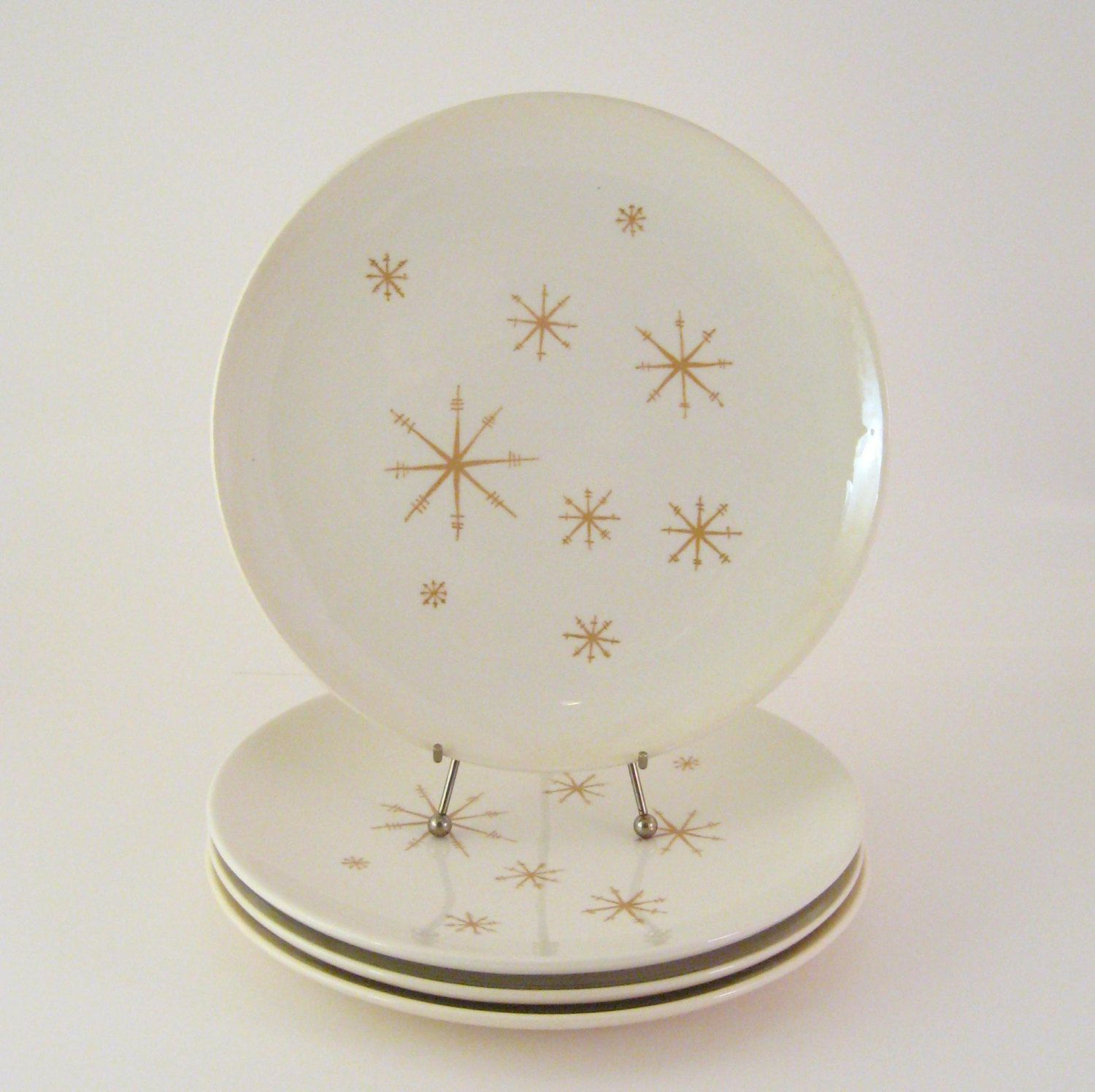 Vintage Star Glow Dinner Plates Set of 4 Crystal Royal China Mid- : star dinner plates - pezcame.com