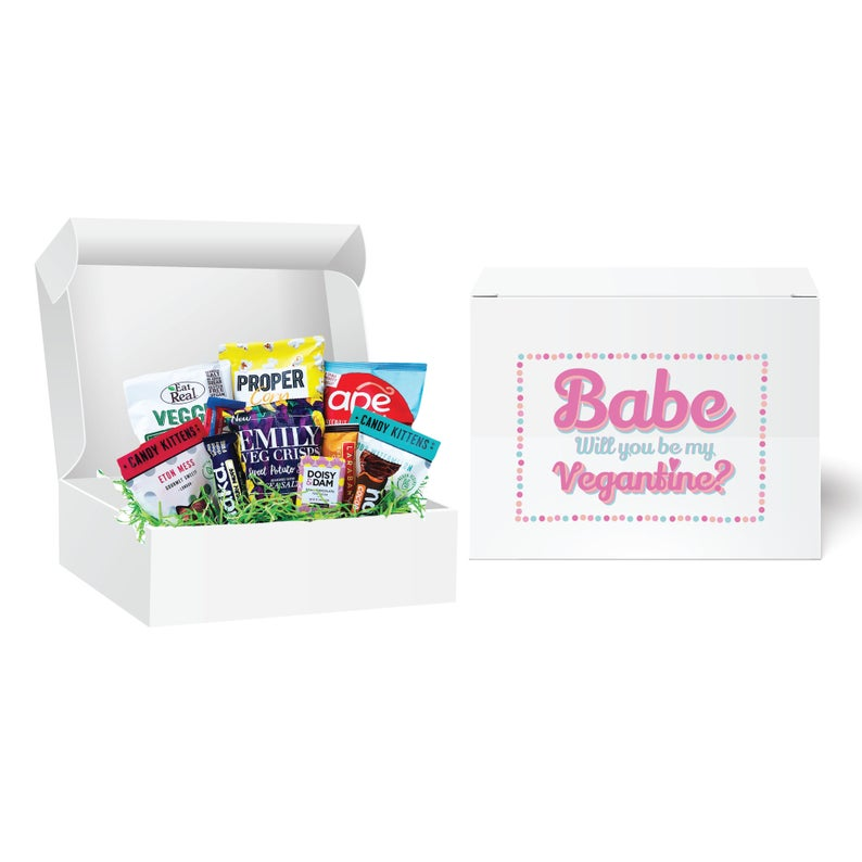 Personalised Vegan Valentine S Treats And Snacks Box The Perfect Gift For Your Vegantine A Hamper Packed With Vegan Chocolate Sweets In 2020 Vegan Chocolate