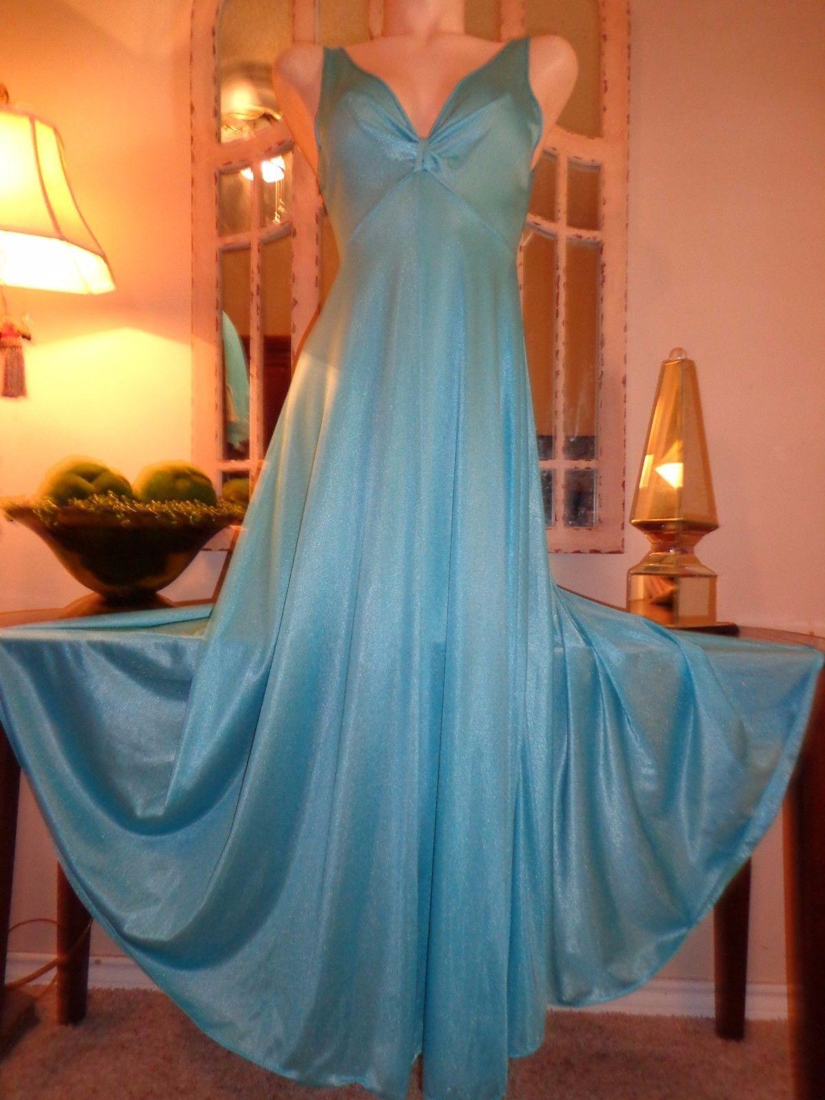 951c16e321 Vintage Olga Nightgown Robe Set Blue Twisttop Gown Sheer Chiffon Peignoir M  L