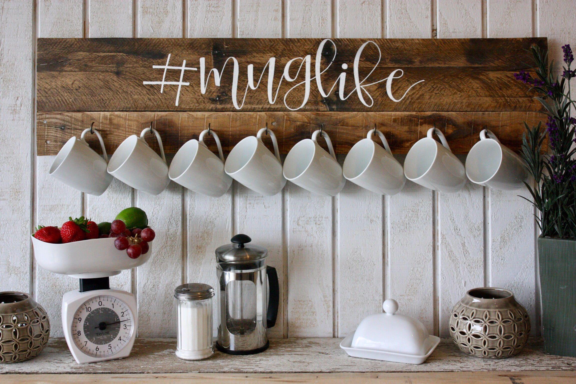 Coffee Mug Wall Rack Lover Decor Holder