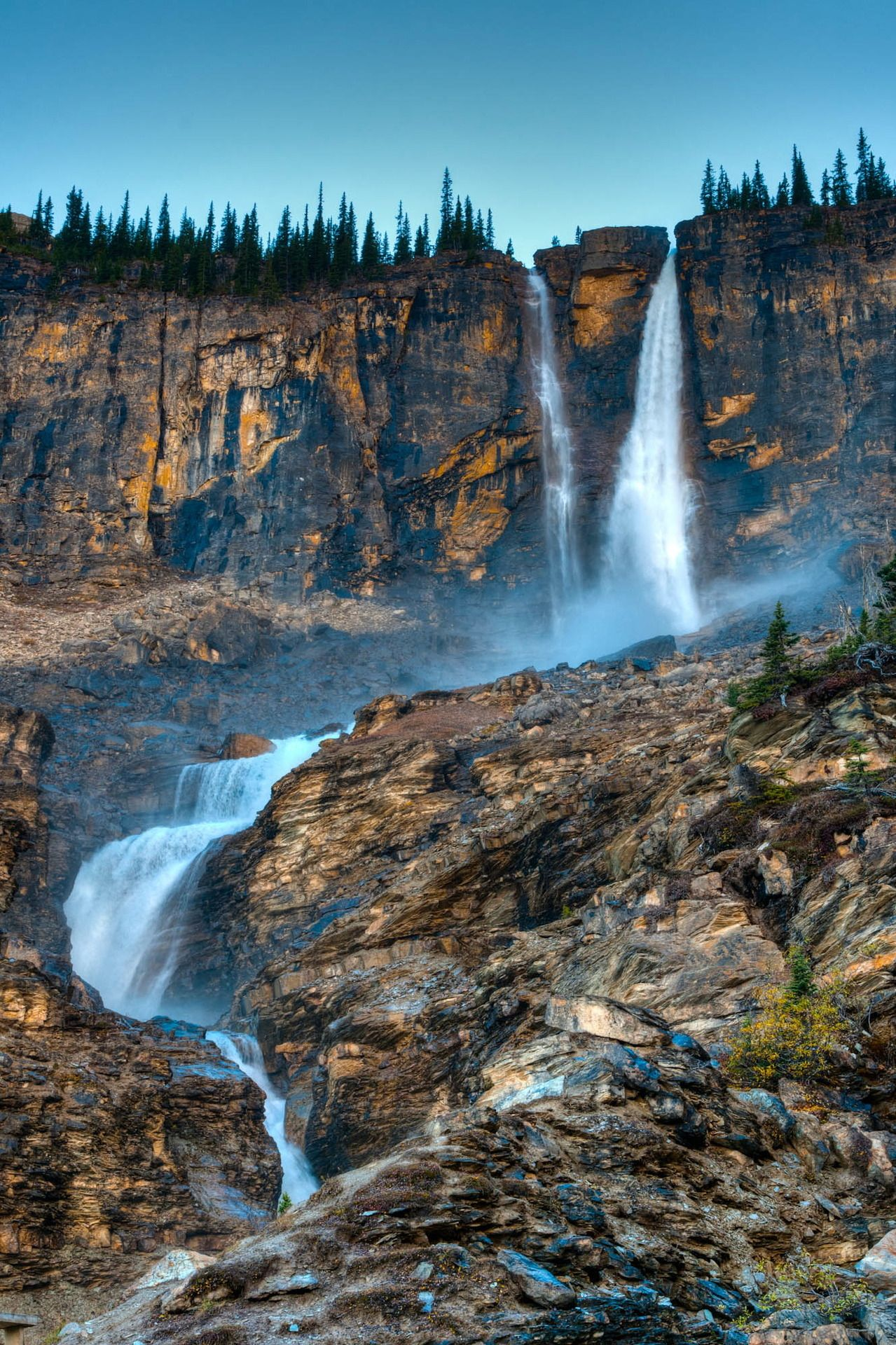 Twin Falls. Seen from the Iceline Trail in Yoho National Park, British Columbia, Canada.
