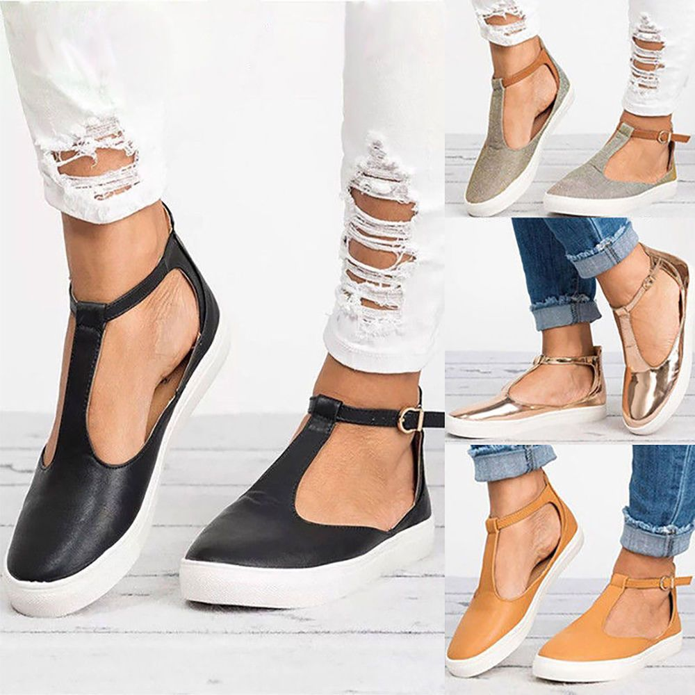 29b3ae0947173 US Women s T-strap Ankle Strap Sandals Pumps Casual Closed Toe Flat Shoes  Size  fashion  clothing  shoes  accessories  womensshoes  sandals (ebay  link)
