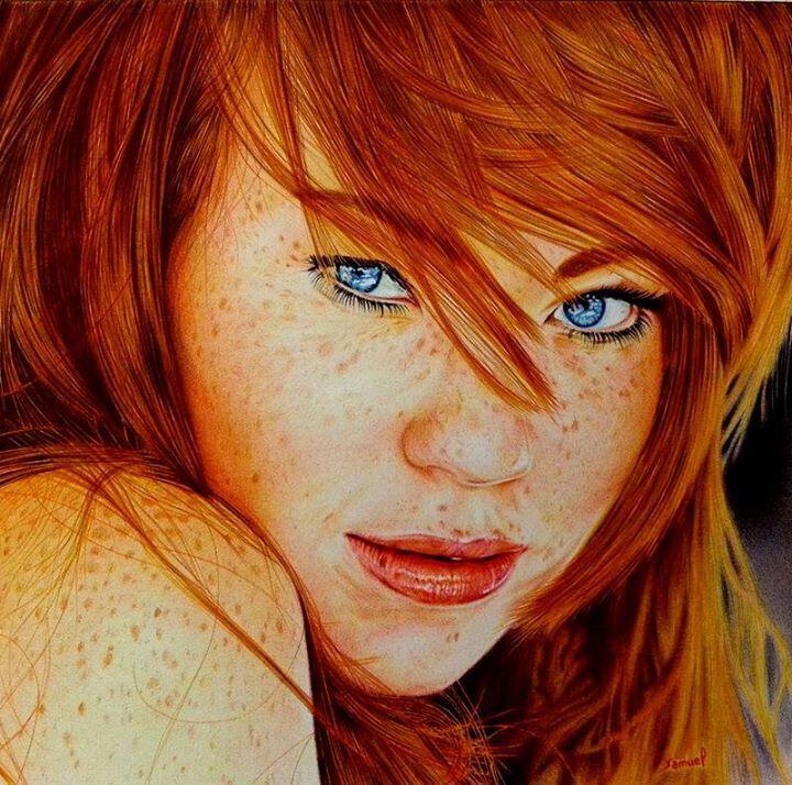 Cute redhead ballpoint pen drawing by Samual Silva