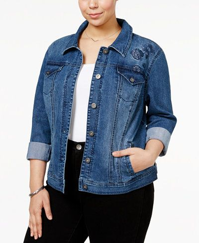 faa74e63122 Style   Co Plus Size Embroidered Denim Jacket
