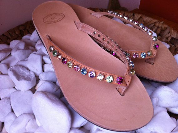 Swarovski Leather handmade decorated sandals by BixliBiDia