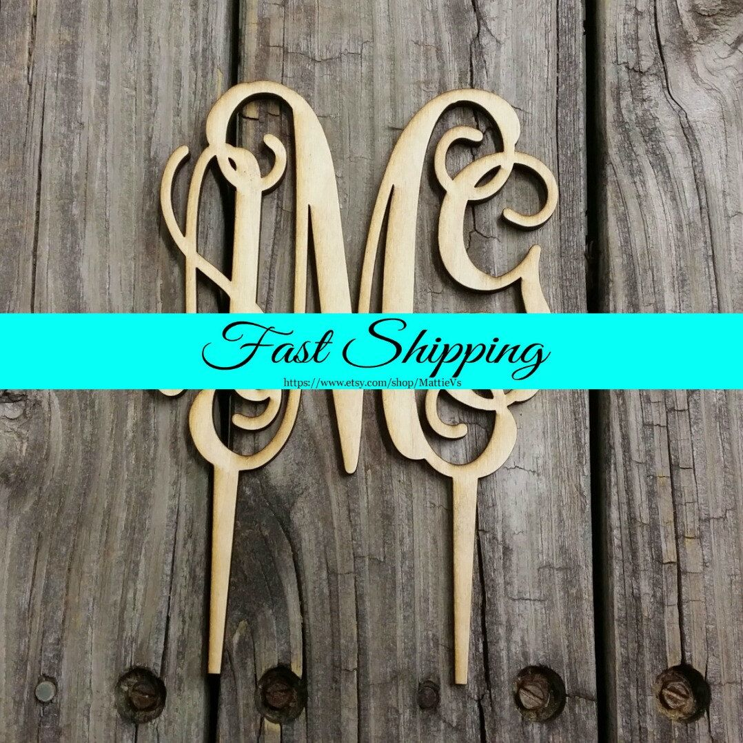 Wooden Monogram Cake Topper - Unfinished Monogram Cake Topper - Custom Monogram Cake Topper - Wedding Cake Decor