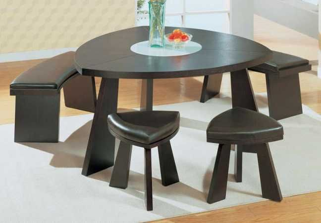 Triangular Dining Table Set With Bench