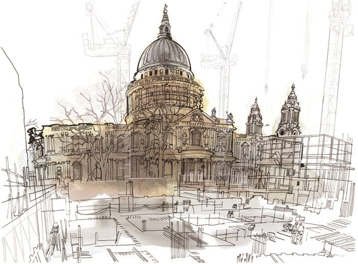 Lucinda Rogers - London. Material used for this piece were that of watercolour, ink and pens. The use of watercolour is evident from the watery like splash of colour on St.Paul's Cathedral and the foreground. The artist's intention was to show the disappearing and changing ways of life around London, as stated on her website.