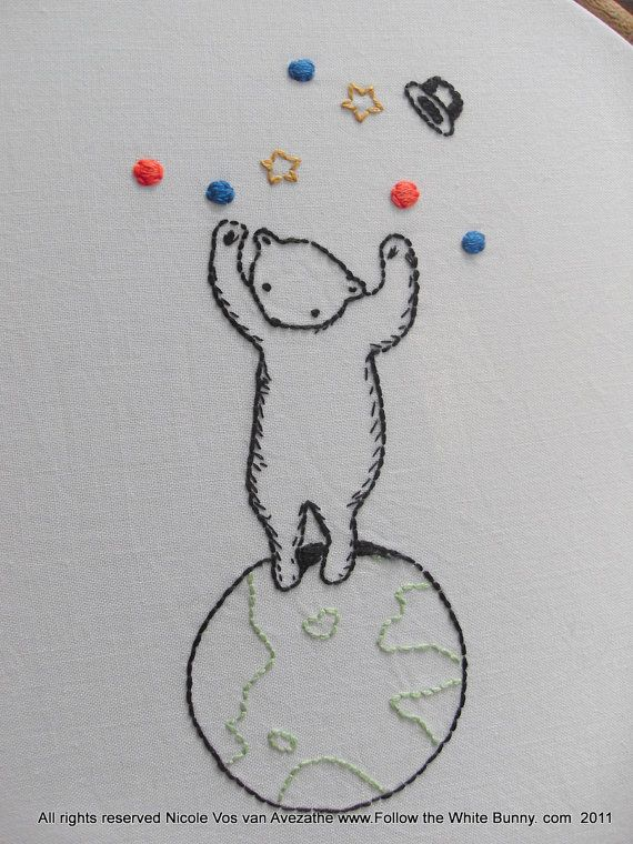 Circus Bear Walking the Globe PDF Hand Embroidery Pattern No shipping fee on Etsy, 25:00 kr