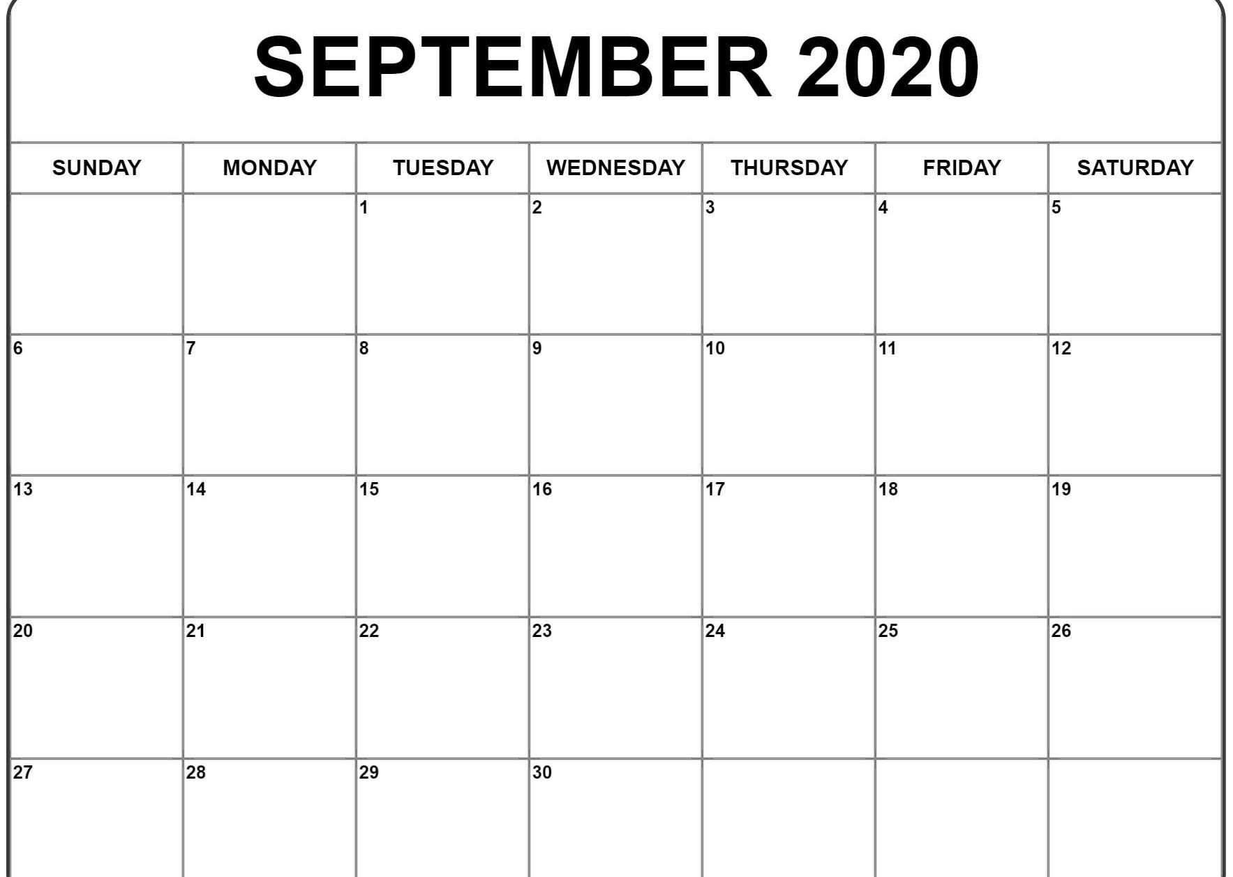 Awesome September 2020 Calendar Pdf Word Excel Template
