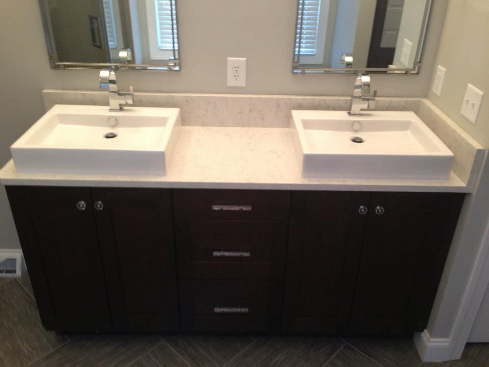 Wood Mode Fine Cabinetry Brookhaven Vanity With Zodiac Quartz Counter Top In The Color Of Hastone Aspen With American Stand Wood Mode Vanity Quartz Countertops