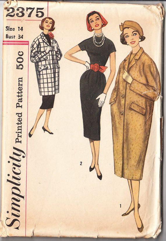 Vintage 1962 Simplicity 2375 UNCUT Sewing Pattern Misses\' One-Piece ...