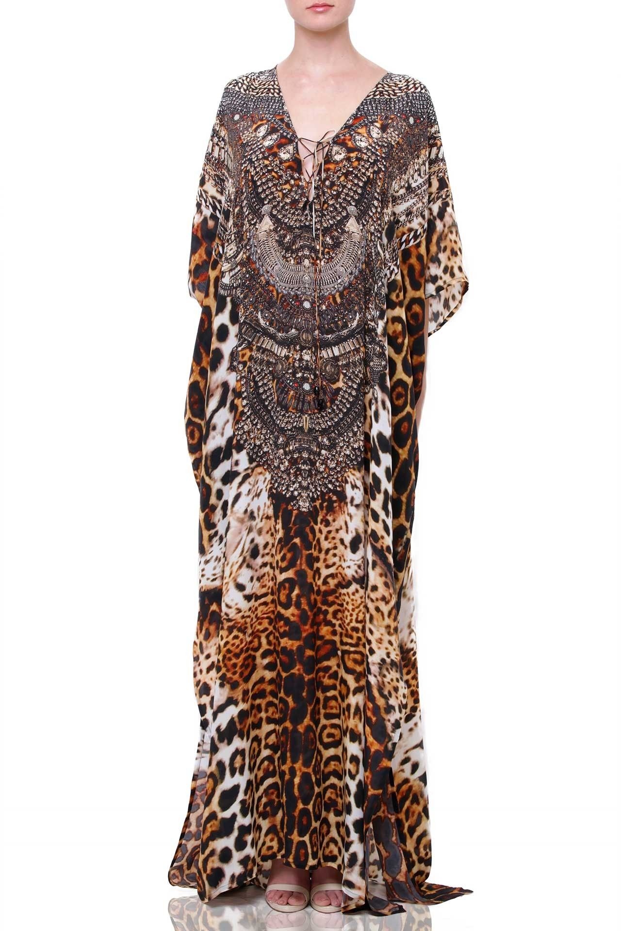 cbb94a53d0ea Luxury Lace Up Kaftan [2018 Leopard Prints] Up to 50% Off - Shahida Parides®