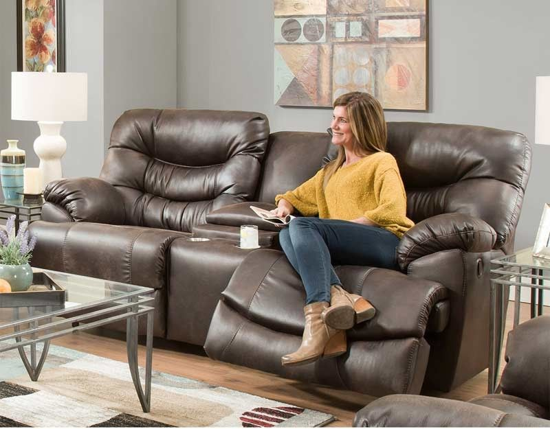 Amazing Franklin Furniture   Touchdown Faux Leather Reclining Console Loveseat In  Chocolate   76534 CHOCOLATE