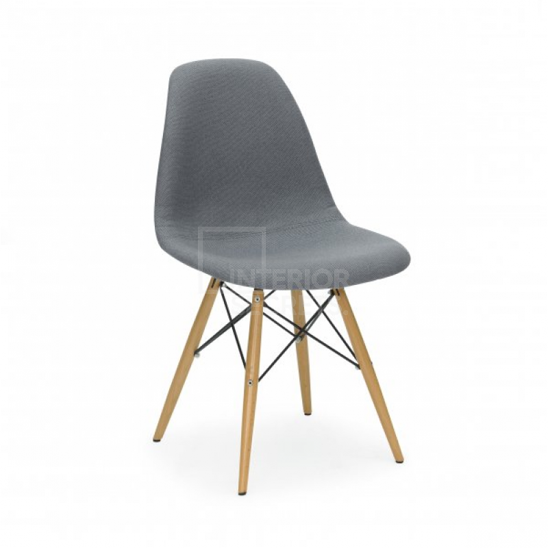 DSW Dining Side Chair Eames Replica Maple Legs Grey Fabric