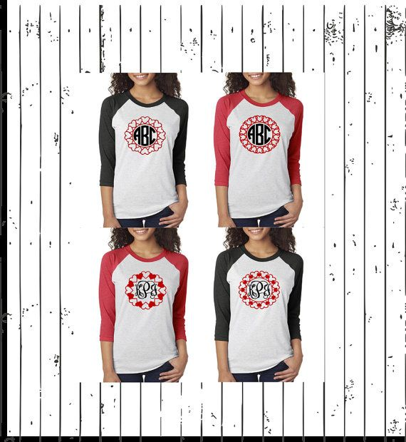 Check Out This Item In My Etsy Shop Https Www Etsy Com Listing 488213997 Valentine Monogram Unisex Raglan Shirts Baseball Mom Shirts Raglan Shirts Shirts