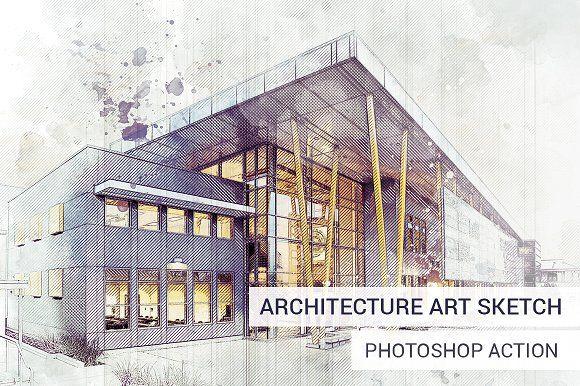 Architecture Sketch Art Photoshop Action Slidesalad Sketch Photoshop Photoshop Actions Architecture Sketch