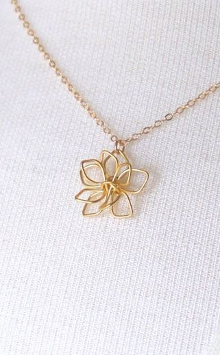 Gold delicate flower necklace simple flower necklace modern gold delicate flower necklace simple flower necklace modern flower necklace wire flower pendant necklace mother of the groom gift mozeypictures Image collections
