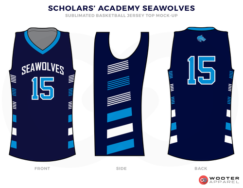 9af577a94 SCHOLARS ACADEMY SEAWOLVER Black White and Blue Basketball Uniforms ...