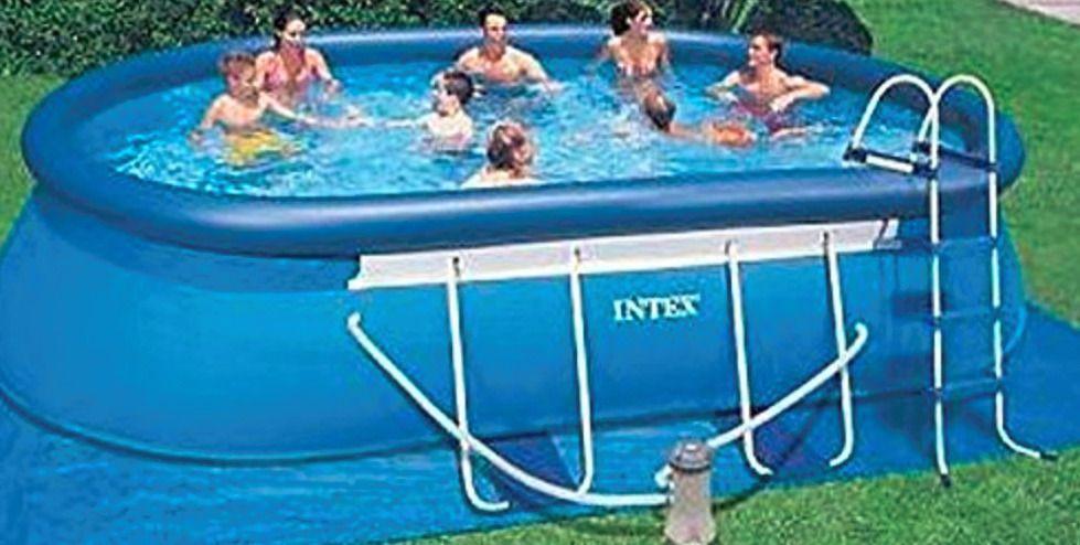Intex Oval Frame Swimming Pool 18 X 10 X 42 1000 Gph Gfci Filter Pump Ladder Intex Pool Oval Above Ground Pools Cool Pools