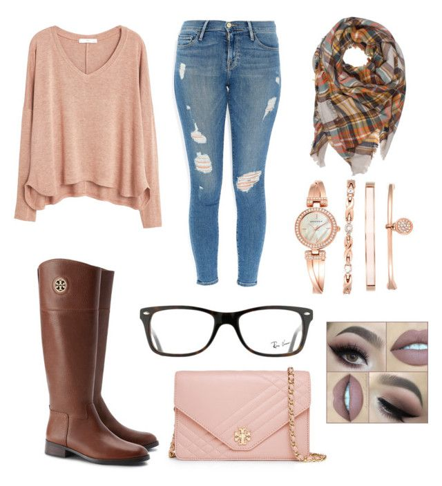 """""""Untitled #1"""" by lydiabickford on Polyvore featuring Frame Denim, MANGO, Tory Burch, Ray-Ban and Anne Klein"""