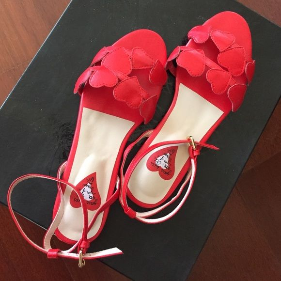 Amazing Modern Vintage Leather Valentine Sandals Valentine red, absolutely adorable!!!!! Real leather. Size 37. BRAND NEW, comfy, unique! Shoes Sandals