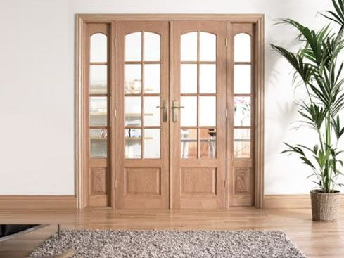Traditional Oak Interior French Doors Internal Room Divider With Sidelight Options
