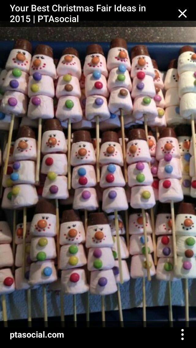 Marahmallow Snowmen Christmas Fair Ideas Christmas Party Food Christmas Treats