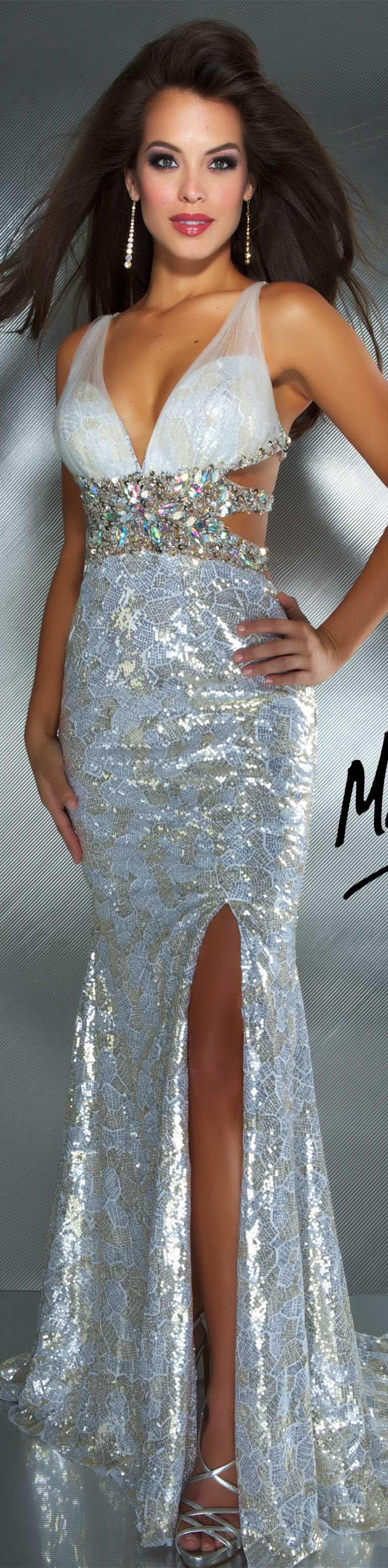 Mac duggal couture dress ivory gold long dress glitter mac