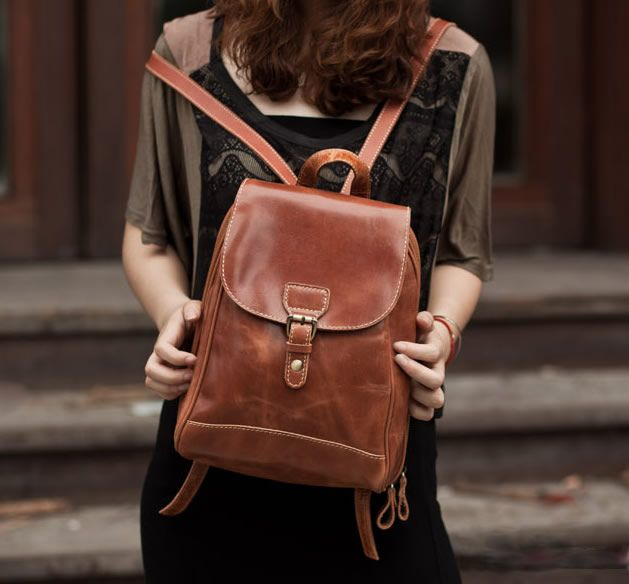 Women's Handmade Leather Small Backpack / Day Pack / Satchel - m16 ...