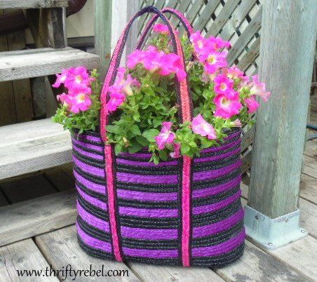como fazer um plantador de bolsa, recipiente jardinagem, flores, jardinagem, como, upcycling repurposing