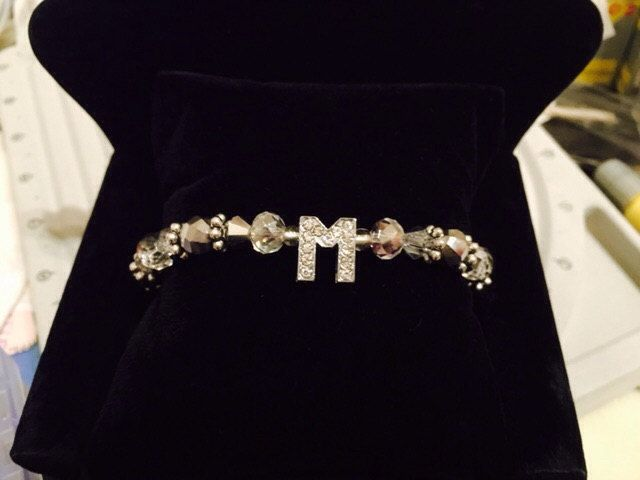 charming sophisticated bead bracelet with your initials. by JewelryIsh on Etsy