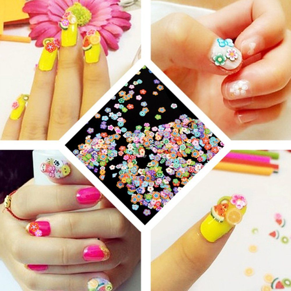 100 Pcs 3d Nail Art Fimo Canes Clay Fruit Slices Nails Stickers