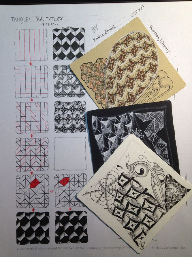 tangle rautyflex by czt kathrin bendel zentangle muster grid high focused tangle - Zentangle Muster