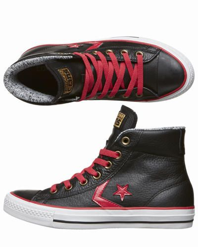 Converse - Shop here > http://www.surfstitch.com/eu/en/product/converse-star-player-ev-leather-mid-trainers-black-235751BLK #grunge #converse #trend