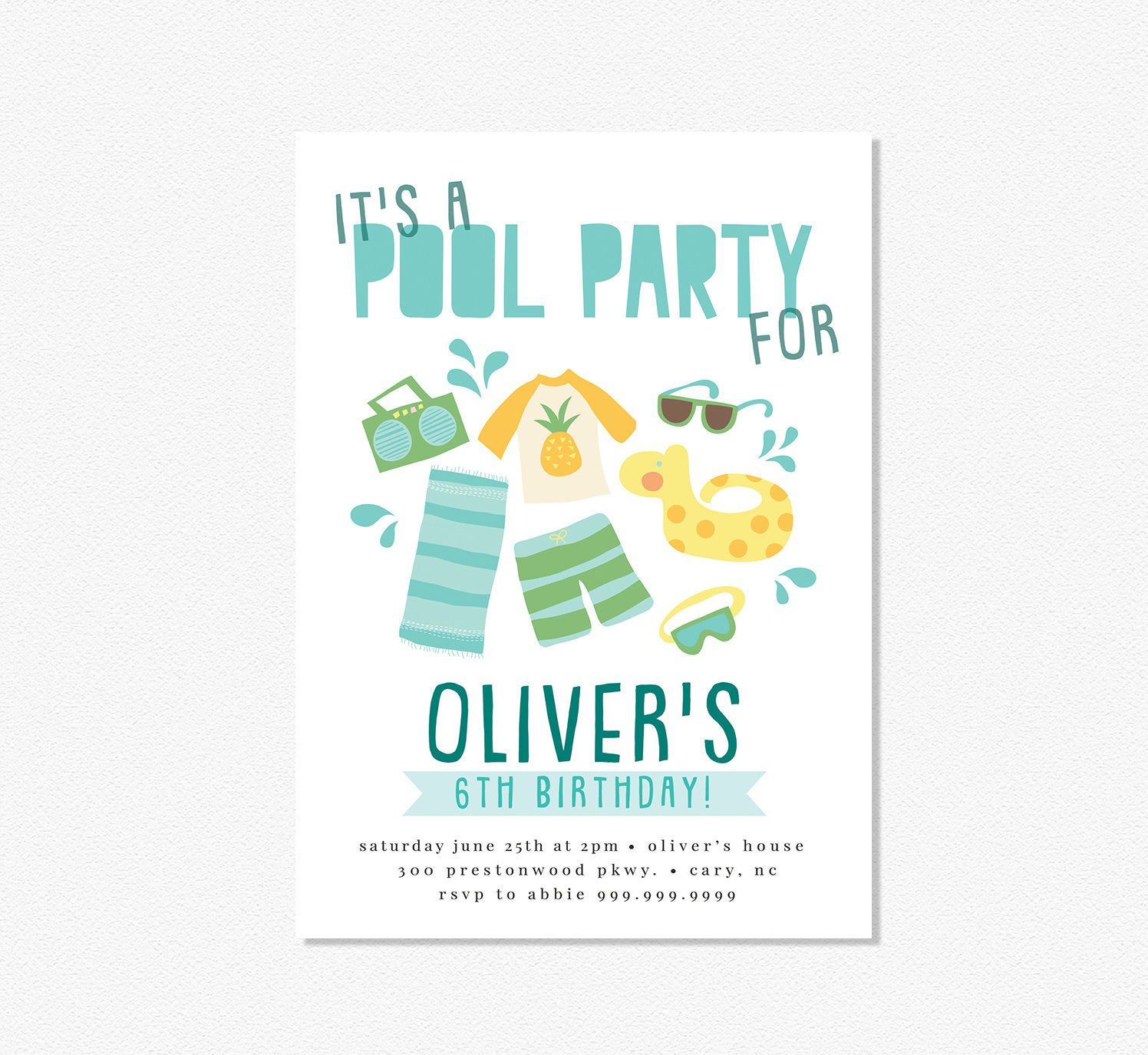 Summer pool party birthday invitation #summerpoolparties