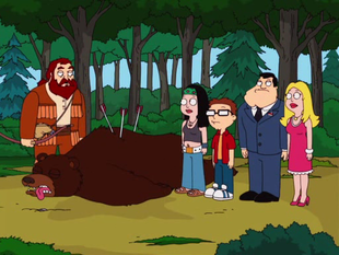 "The family meets Buckle for the first time after he saves them from a bear in the wild. ~ ""An apocalypse to remember"" Season 3, episide 14 (2007) American Dad"