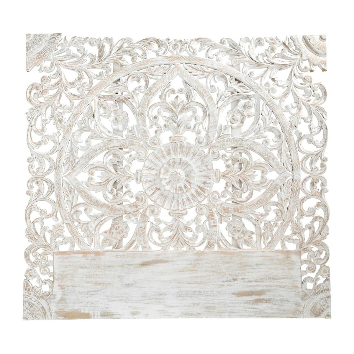 geschnitztes bett-kopfteil aus massivem mangoholz, b 160 cm, weiß, Schlafzimmer entwurf