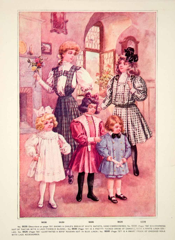 1906 Photolithograph Delineator Edwardian Girl Fashion Style Art Nouve Vintage Childrens Clothing Fashion Illustration Vintage Edwardian Fashion