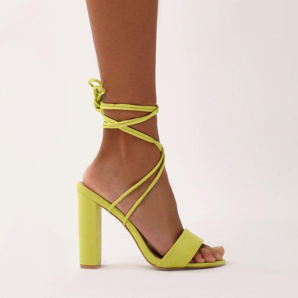 fc0873ef526 Suzu Strappy Block Heels in Lime Faux Suede