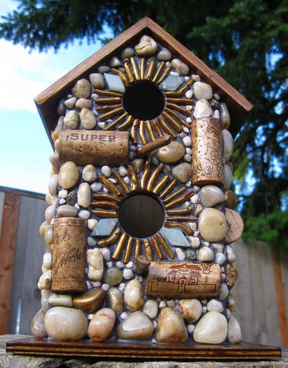 Outdoor Wine Cork Birdhouse. Cool idea for those wooden bird houses at Michaels and JoAnn's