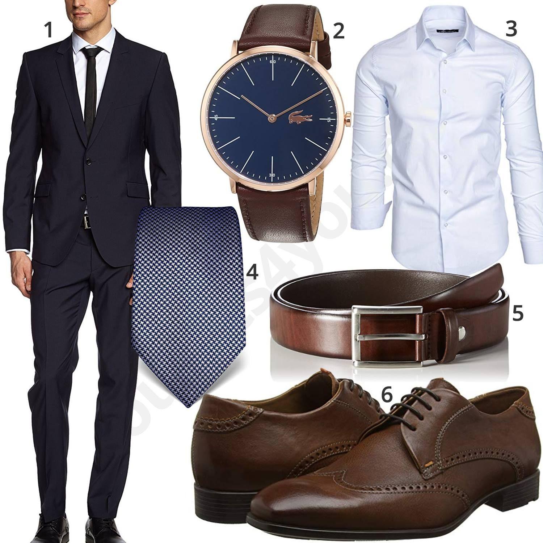 Business Outfit mit blauem Anzug und weißem Hemd | Blauer