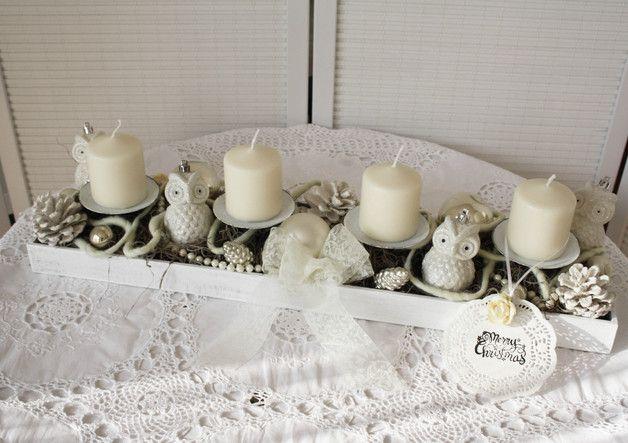 Adventskranz - *Adventsgesteck;*Adventskranz*-*Eulenparade* - ein Designerstück von ifb bei DaWanda