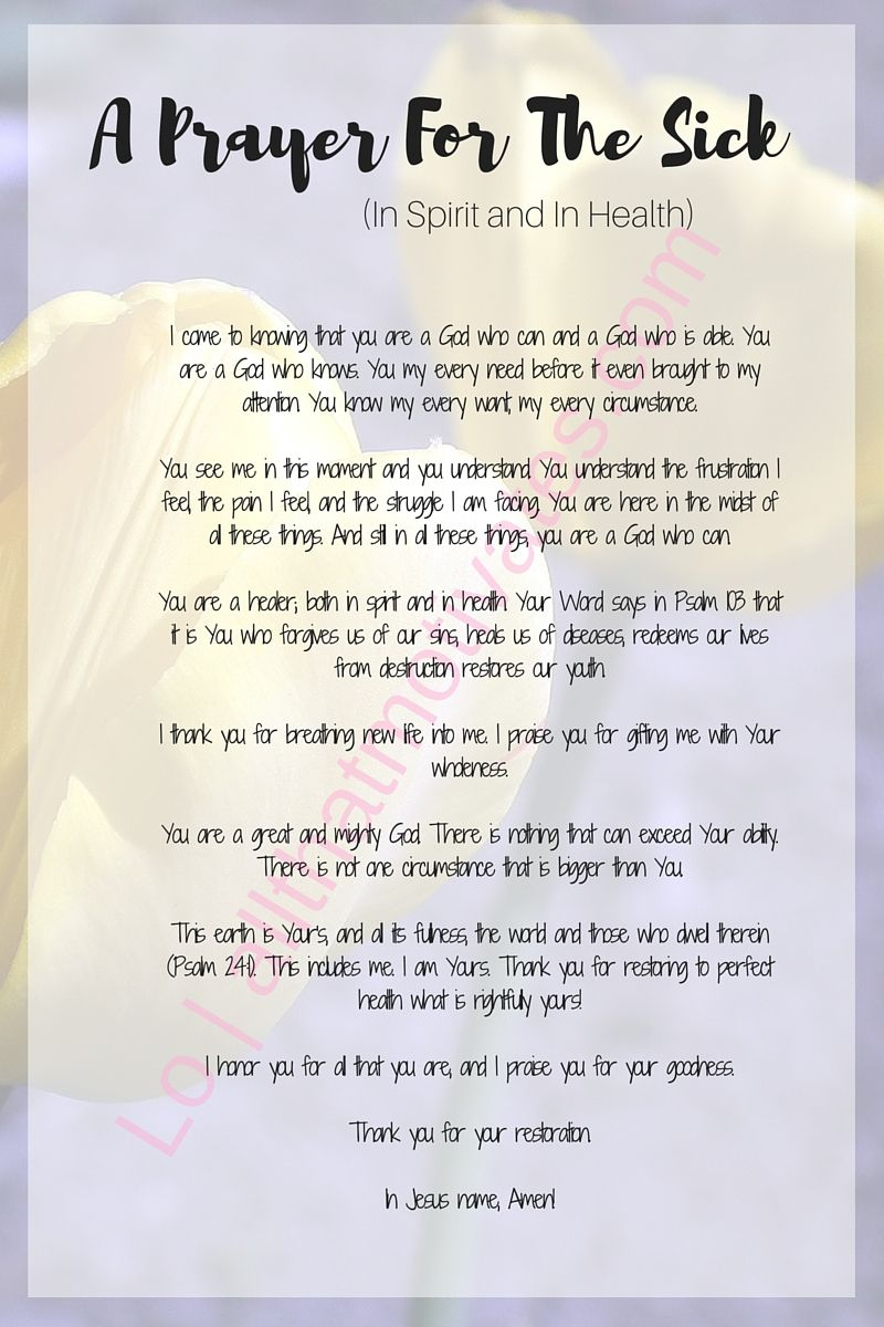 A Prayer for the Sick (In Spirit and In Health Prayer