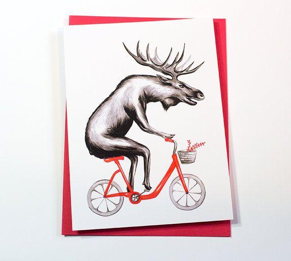 Orignal à vélo, Orignal à bicyclette, carte de souhaits