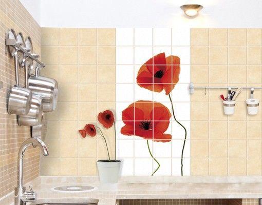 Fliesendekor Badezimmer ~ Fliesenbild charming poppies #fliesensticker #fliesenbild