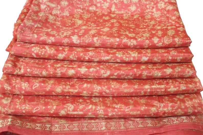 Beautiful Indian Vintage Sari Art Silk Saree Fabric Printed Sari Traditional Culture Sari Ethnic Fabric Women Sari Home Decor Sari