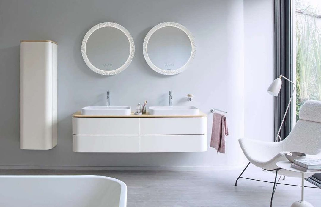 Why Not Have Two Qaio Oval Smart Mirror Thanks To This Bathroom Inspo Erfakitchen Qaio Myq With Images Bathroom Furniture Design Easy Bathroom Decorating Duravit